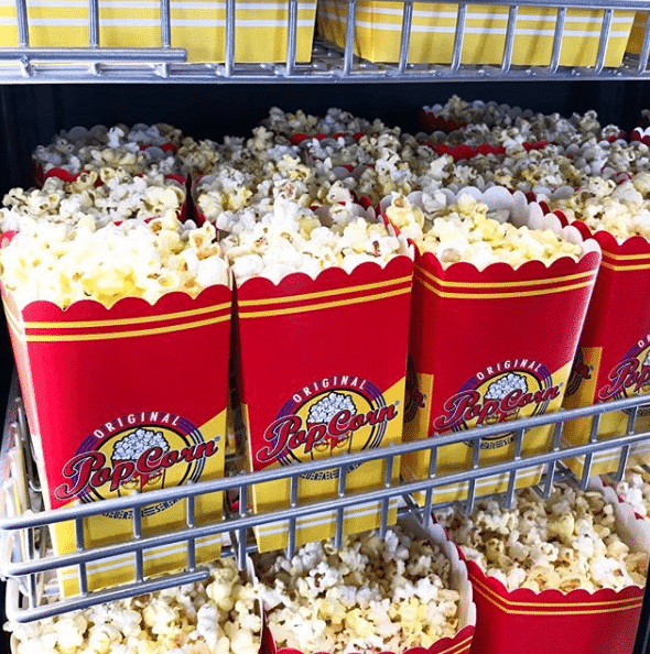 Popcorn till försäljning på Sagabiografen i Oskarshamn.